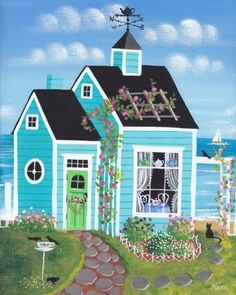 (✿´ ꒳ ` )ノ                                                                  Tea by the Sea Folk Art Print by Kims Cottage Art