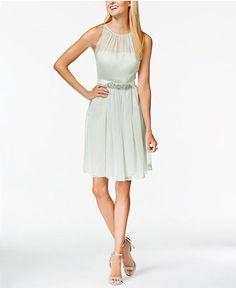 Adrianna Papell Belted Chiffon Halter Dress - Dresses - Women - Macy's