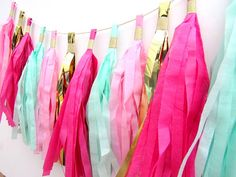 Hot Pink, Pale Pink, Mint and Gold Tissue Paper Tassel Garland. First Birthday Pink And Gold Birthday Party, Gold First Birthday, Happy Birthday, Birthday Parties, Pink And Gold Decorations, Hot Pink Decor, Green Decoration, Hot Pink Bedrooms, Tissue Paper Tassel