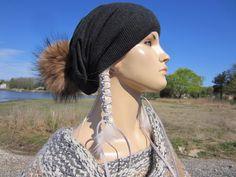 3558f1386a79d Fur Pom Pom Beanie Gray Cashmere Hat Charcoal Wool Knit Slouchy Beanies for  Women Genuine Fur Pom by Vacationhouse A49 POM