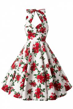 Bunny - 50s Retro Halter Cannes Roses Dress in White                                                                                                                                                     More
