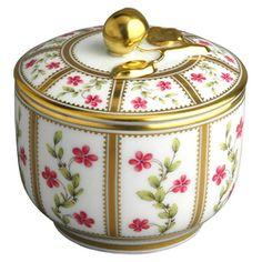 Pot a sucre 2 tasses en porcelaine de la collection Roseraie Bernardaud