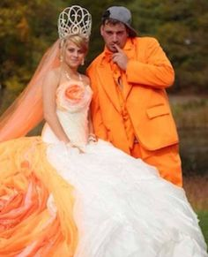 19. Orange wedding dress. The dress isn't that bad. The orange TUX however...