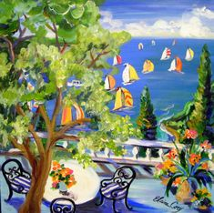 Lake Como Sailboat Gala is an original painting done by me Elaine Cory. It is on a canvas 24 x 24 x 1 1/2. The sides are painted like the front. It is wired for immediate hanging or framing. All images, content copyright Elaine Cory studios. Thank you for viewing my artwork.