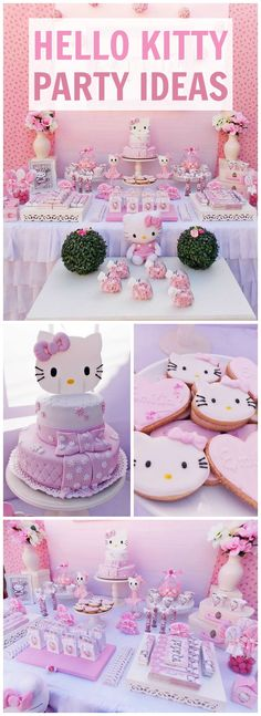 What a pretty, pink Hello Kitty birthday party! Don't forget to add a Hello Kitty cake topper Kitty Party, Hello Kitty Theme Party, Hello Kitty Themes, Bolo Hello Kitty, Pink Hello Kitty, Cat Birthday, 3rd Birthday Parties, Birthday Ideas, Hello Kitty Birthday Cake