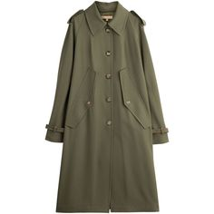 Michael Kors Collection Vrigin Wool Trench Coat (£745) ❤ liked on Polyvore featuring outerwear, coats, jackets, coats & jackets, michael kors, green, wool coat, slim fit wool coat, trench coat and green wool coat