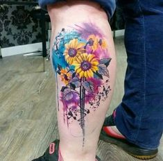 25 best Tattoo Designs of the week- September 11 to 2016 - Beste Tattoo Ideen Sunflower Tattoo Meaning, Sunflower Tattoo Simple, Sunflower Tattoo Sleeve, Sunflower Tattoo Shoulder, Sunflower Tattoos, Sunflower Tattoo Design, Watercolor Sunflower Tattoo, Tattoo Watercolor, Cover Up Tattoos