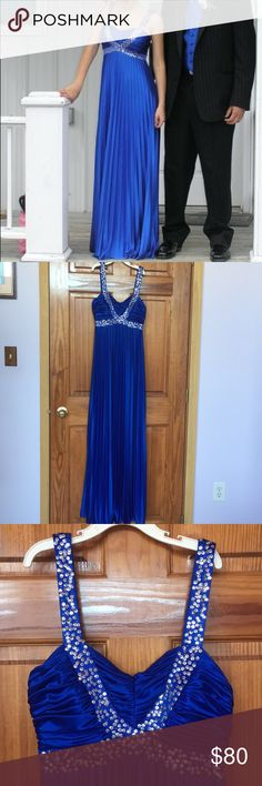 Morgan & Co 💙 Cobalt Blue Ball Gown (Worn Once!!) This dress is absolutely beautiful. It is a Small by Morgan and Company. This dress is true to size as I usually wear a small or around a size 3. I only wore this dress once, for a few hours. It is like new. It is a cobalt blue prom dress / ball gown with sequins along the top. I truly loved this dress more than anything and I wish I had a reason to wear it again or keep it, but unfortunately it is just taking up space in my closet. Morgan…