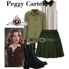 Peggy Carter - Captain America by katiecat013 on Polyvore featuring Topshop, Sister Jane, Dorothy Perkins, marvel, disneybound, CaptainAmerica, peggycarter and FirstAvenger