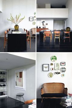 plates as wall art and stacks of magazines in living room