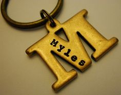 Personalized Initial Letter KEYCHAIN: Double Sided, Custom Gift for Men Parents Groomsmen Bridesmaid, Hand Stamped Both Sides, Vintage Brass