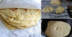 Easy Homemade Flour Tortillas INGREDIENTS ( 2 cups) all-purpose flour, plus a little extra for rolling the tortillas 5 tablespoons lard or vegetable shortening, or a mixture of the two salt About very warm tap water Homemade Flour Tortillas, Mexican Food Recipes, Ethnic Recipes, Bread And Pastries, Fresh Bread, Good Enough To Eat, Mexican Dishes, Quick Easy Meals, Love Food