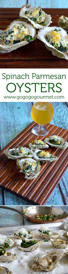 These Spinach Parmesan oysters are baked making them easy to shuck Go Go Go Gourmet gogogogourmet Appetizers For A Crowd, Seafood Appetizers, Appetizer Recipes, Shellfish Recipes, Seafood Recipes, Cooking Recipes, Fish Dishes, Seafood Dishes, Oyster Bake