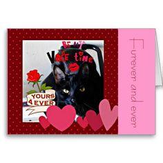Be Mine Furever Cute black Cat valentine card