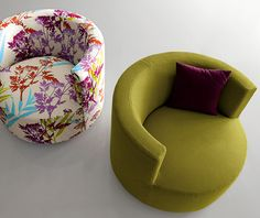 Round Backrest Chair Chance by Saba Italia - these would be perfect in front of the fireplace!