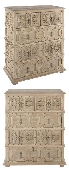 Connect the dots. Surrounding drop-style zinc drawer pulls, antiqued nail heads highlight the Aztec-inspired motifs of our Tetzcoco Carved Cabinet. A weathered wood top bolsters the cabinet's rustic ap...  Find the Tetzcoco Carved Cabinet, as seen in the Bohemian Sanctuary Collection at http://dotandbo.com/collections/bohemian-sanctuary?utm_source=pinterest&utm_medium=organic&db_sku=117048