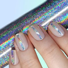 Nailpolis Museum of Nail Art | Holo Glitter Stripes by nagelfuchs