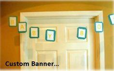 "Custom baby shower banner..""oh boy"" themed."