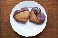 vegan chocolate dipped sugar cookies.