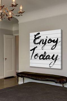 Enjoy Today White Wood Wall Art