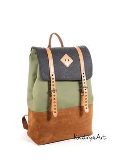Canvas and suede leather backpack. Green, orange color rucksack. Men's backpack. Women's backpack.