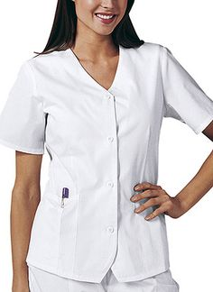Weskit Top in White Weskit Top  Fabric: Poly/Cotton w/Soil Release $19.99 #scrubs #nurses 3doctors #medicaloutlet