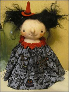 Witch free-standing Doll Whimsical creepy goth Halloween red cute country home decor Farm Quirky Primitive doll hafair ofg team