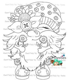 SPRING THINGS! Coloring Pages For Girls, Cute Coloring Pages, Colouring Pics, Coloring Books, Gnome Paint, Elves And Fairies, Woodworking Patterns, Colorful Pictures, Kids Christmas