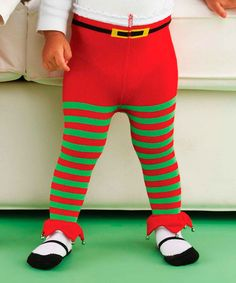 Green & Red Stripe Elf Tights - Infant