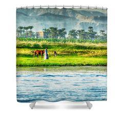 Egyptian Landscape Shower Curtain by Eleni Mac Synodinos