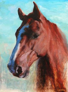 Beautiful equestrian painting of a Red Horse in oil on canvas. Western Art by Heather Lenefsky