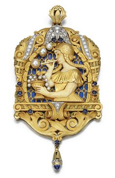 Sapphire, Diamond, Pearl And Plique-a-Jour Enamel Pendant, Fuset y Grau,  c.1920