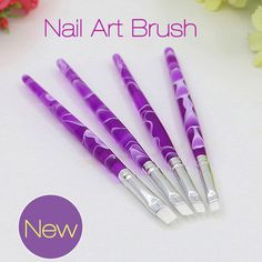 New Nail Art Brush Pen 4pc Wave Wavy Image Handle UV Gel Brush Pen Nail Art Painting Drawing Brush Manicure Beauty Tools 2017