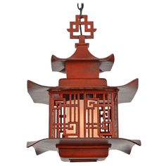 Quality Chinese-Themed Cast Lantern Pendant in Antiqued Ming Red, USA | From a unique collection of antique and modern chandeliers and pendants  at http://www.1stdibs.com/furniture/lighting/chandeliers-pendant-lights/