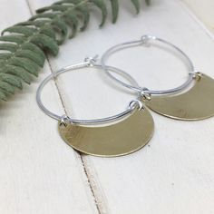 Crescent Moon Hoop Earrings - Sterling Silver Hoops - Brass Earrings Sterling Silver Hoops, Leaf Necklace, Hand Stamped, Jewelry Collection, Hoop Earrings, Moon, Brass, Jewellery, Spring
