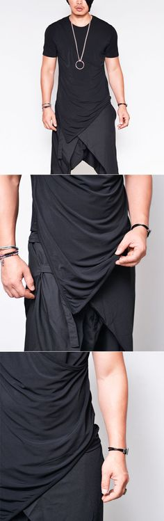 Unbalance Drape Layer Round-Tee 760  by.Guylook.com       Great quality polyblends with excellent flexibility     Avant-garde unbalance drape layer     Flattering slim pattern     Machine-wash cold. Hang-dry in the shade