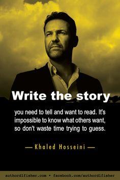 Khaleb Hosseini is a novelist and physician. All three of his novels became *big* bestsellers. Creative Writing Tips, Book Writing Tips, Writing Words, Fiction Writing, Writing Resources, Writing Skills, Writing Prompts, Writing Corner, Writers Help
