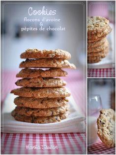 Cookies flocons d'avoine et chocolat Martha Stewart (je mets moitié moins de sucre!)