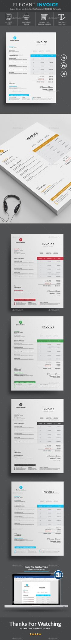 Invoice Invoice design, Brand identity and Business proposal - personal invoice