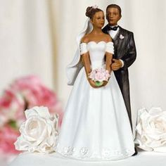 Elegant African American Bride And Groom Wedding Cake Topper Country Cowboy Cowgirl
