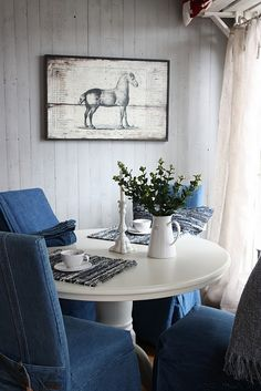 Small Armchairs For Living Room Upcycle Home, Denim Decor, Country Blue, Blue Home Decor, Dining Chairs, Ikea Chairs, Room Chairs, Blue Chairs, Office Chairs