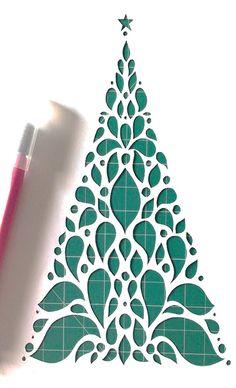 Christmas Tree DIY Papercut Template by HandmadezbyAgnisha on Etsy