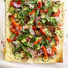 Herbed Flatbread Pizzas | MyRecipes.com Perfect recipe after a day at the Farmers Mkt!