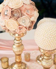 Centerpiece idea - pearl balls, handmade flower balls- in her colors.