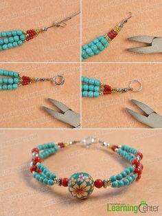 Finish the multi-strand ethnic bracelet