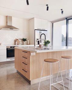 I think I have even bigger love for this polished concrete floor than the Kmart bar stool, guys! Kitchen Interior, New Kitchen, Kitchen Decor, Kitchen Design, Kitchen Ideas, Kitchen Island, Kitchen Cabinets, Residential Interior Design, Decor Interior Design