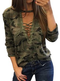 990595b2ee9 2017 Sexy T-Shirt Ladies Loose Bandege Camo Tee Women Camouflage V Neck  Lace Up Halter Top Shirt Tracksuit Female Sudadera-Enso Store-as  shown-L-Enso Store