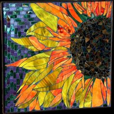 Carrie A Bracker mosaic art sunflower Stained Glass Art, Mosaic Glass, Mosaic Tiles, Mosaic Tray, Mosaic Mirrors, Tiling, Mosaic Wall, Mosaic Crafts, Mosaic Projects