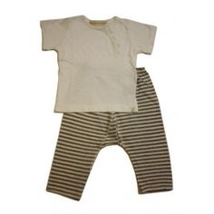 Go Gently Baby :: ON SALE! $38.00 button on the side, organic soft cotton and striped comfortable fit pant this set is perfect for the little man whether it's a gift or just because he is already too cute.     Shirt: 100% Organic Cotton  Pant: 50% Organic Cotton, 50% Polyester    Made in USA  #Kidsfashion #OrganicClothing #ShopBelle