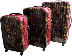 $154.50 Camo with Pink Trim 3 Piece Pullman Style 360° Rolling Suitcase Set